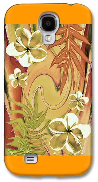 Botanical Galaxy S4 Cases - Retro Plumeria Galaxy S4 Case by Robert McPeek