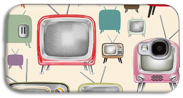 Greeting Digital Art Galaxy S4 Cases - retro TV pattern  Galaxy S4 Case by Setsiri Silapasuwanchai
