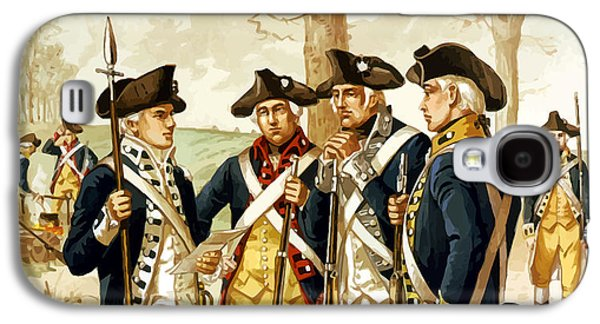 Historical Paintings Galaxy S4 Cases - Revolutionary War Infantry Galaxy S4 Case by War Is Hell Store