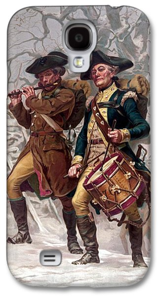 4th July Paintings Galaxy S4 Cases - Revolutionary War Soldiers Marching Galaxy S4 Case by War Is Hell Store