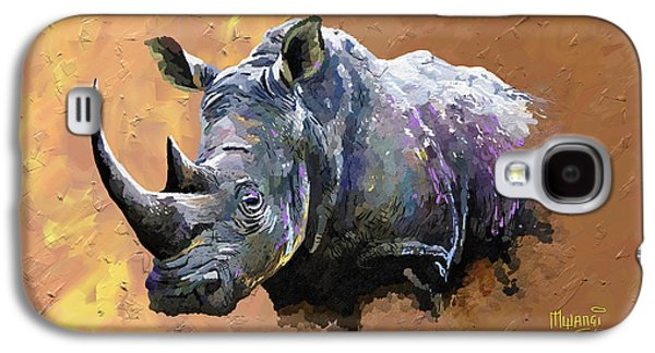 One Horned Rhino Paintings Galaxy S4 Cases - Rhino Galaxy S4 Case by Anthony Mwangi