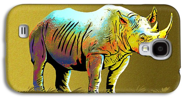 One Horned Rhino Paintings Galaxy S4 Cases - Rhinoceros Galaxy S4 Case by Anthony Mwangi