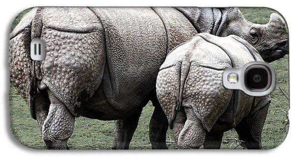 Rhinoceros Mother And Calf In Wild Galaxy S4 Case by Daniel Hagerman
