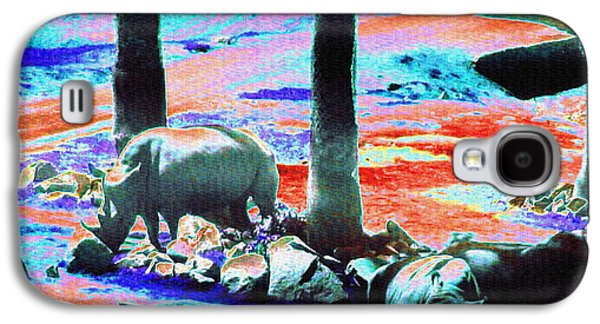 Rhinos Having A Picnic Galaxy S4 Case by Abstract Angel Artist Stephen K