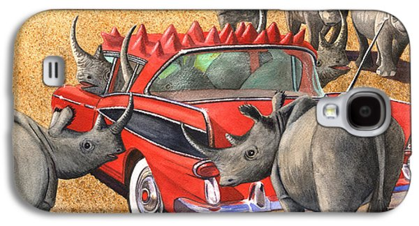 Rhinoceros Paintings Galaxy S4 Cases - Rhinos Red Rambler Galaxy S4 Case by Catherine G McElroy