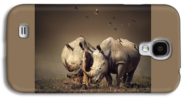 Rhino's With Birds Galaxy S4 Case by Johan Swanepoel