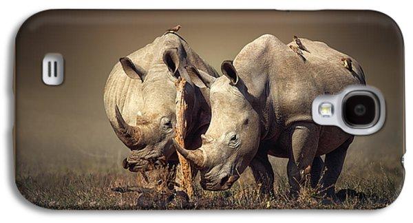 Field Digital Art Galaxy S4 Cases - Rhinos with birds Galaxy S4 Case by Johan Swanepoel