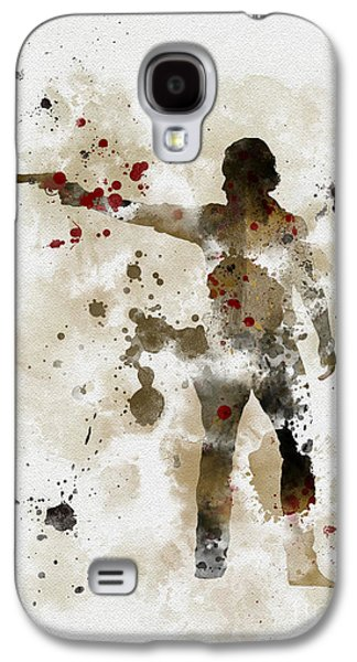 Walking Mixed Media Galaxy S4 Cases - Rick Grimes  Galaxy S4 Case by Rebecca Jenkins
