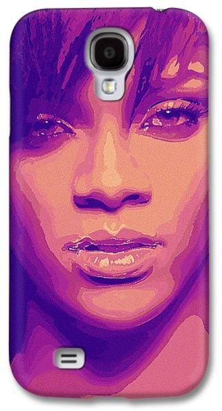 Rihanna Galaxy S4 Cases - Rihanna Abstract Portrait Blue Galaxy S4 Case by Rakesh Mohan Sayal