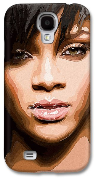 Rihanna Galaxy S4 Cases - Rihanna Abstract Portrait Galaxy S4 Case by Rakesh Mohan Sayal