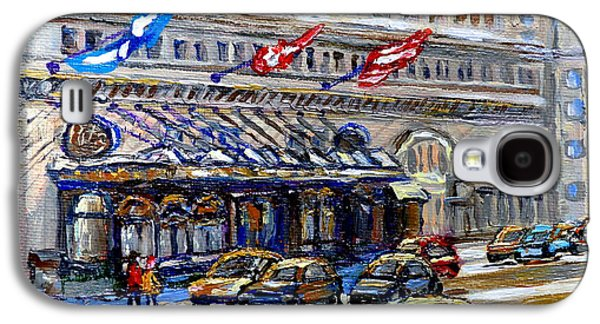 Canadian Heritage Paintings Galaxy S4 Cases - Ritz Carlton Paintings Montreal Memories 3 Flags Rue Sherbrooke Best Canadian Original Art For Sale  Galaxy S4 Case by Carole Spandau