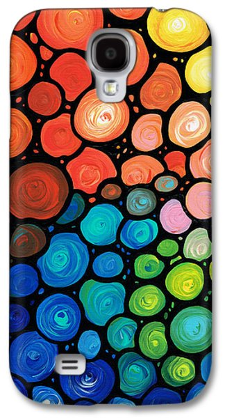 Abstract Art Canvas Paintings Galaxy S4 Cases - Rivers Edge Galaxy S4 Case by Sharon Cummings