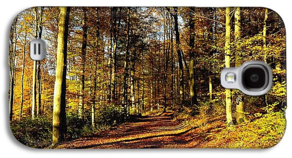 Abstract Digital Paintings Galaxy S4 Cases - Road Through a Forest H a Galaxy S4 Case by Gert J Rheeders