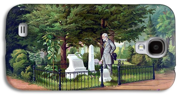 Warishellstore Paintings Galaxy S4 Cases - Robert E. Lee Visits Stonewall Jacksons Grave Galaxy S4 Case by War Is Hell Store