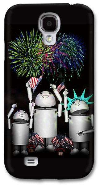 4th July Mixed Media Galaxy S4 Cases - Robo-x9 and Family Celebrate Freedom Galaxy S4 Case by Gravityx9  Designs