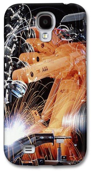 Production Line Galaxy S4 Cases - Robot Arm Spot-welding A Car Suspension Unit Galaxy S4 Case by David Parker