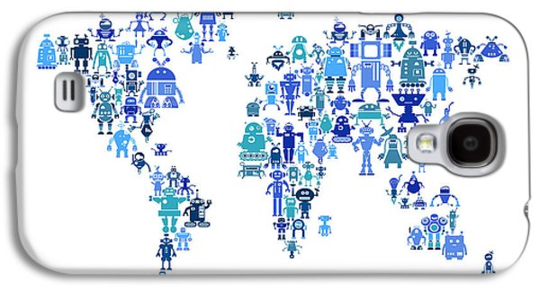 World Map Poster Digital Galaxy S4 Cases - Robot Map of the World Map Galaxy S4 Case by Michael Tompsett