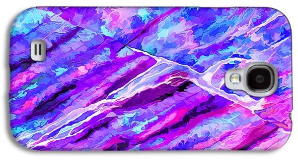 Photo Manipulation Galaxy S4 Cases - Rock Art 16 in Cyan Blue n Purple Galaxy S4 Case by Bill Caldwell -        ABeautifulSky Photography