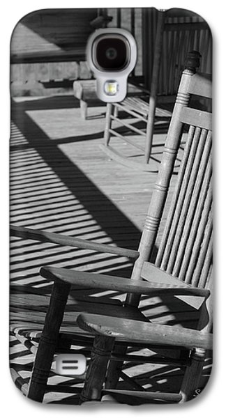 Rocking Chairs Galaxy S4 Cases - Rocking Chair Porch in black and white Galaxy S4 Case by Suzanne Gaff