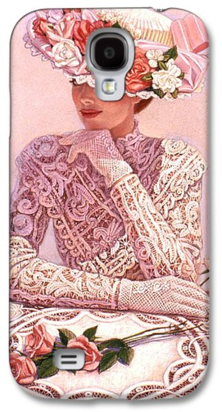Floral Pastels Galaxy S4 Cases - Romantic Lady Galaxy S4 Case by Sue Halstenberg