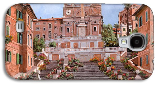 Street Paintings Galaxy S4 Cases - Rome-Piazza di Spagna Galaxy S4 Case by Guido Borelli