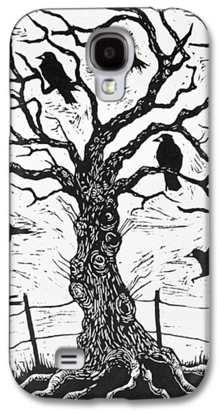Fence Drawings Galaxy S4 Cases - Rook Tree Galaxy S4 Case by Nat Morley