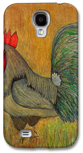 Indian Ink Mixed Media Galaxy S4 Cases - Rooster Feathers Galaxy S4 Case by Chary Castro-Marin