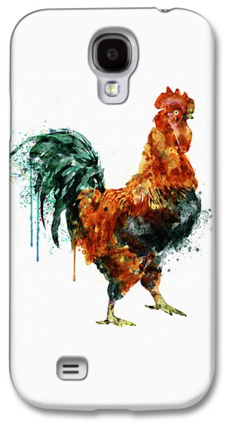 Domestic Digital Galaxy S4 Cases - Rooster watercolor painting Galaxy S4 Case by Marian Voicu