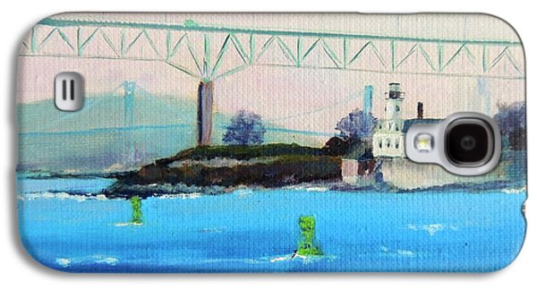 New England Lighthouse Paintings Galaxy S4 Cases - Rose Island Lighthouse Newport Bridge Newport RI Galaxy S4 Case by Patty Kay Hall
