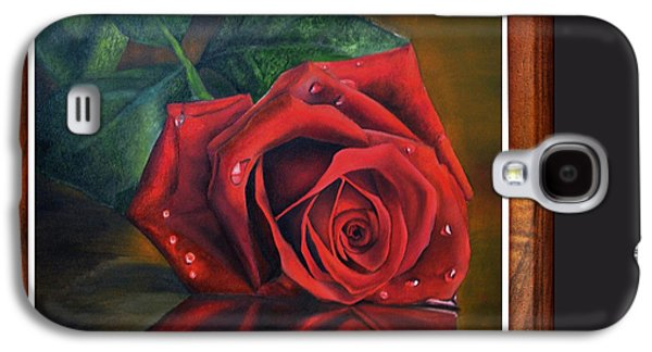 Interior Still Life Drawings Galaxy S4 Cases - Rose Love Galaxy S4 Case by Deepak Deshmukh