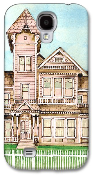 Haunted House Paintings Galaxy S4 Cases - Rose Victorian Inn - Arroyo Grande CA 1886 Galaxy S4 Case by Arline Wagner
