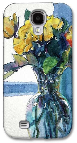 Nature Abstract Galaxy S4 Cases - Roses in Vase Still Life I Galaxy S4 Case by Kathy Braud
