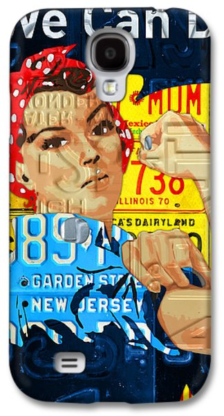 Industrial Mixed Media Galaxy S4 Cases - Rosie the Riveter We Can Do It Promotional Poster Recycled License Plate Art Galaxy S4 Case by Design Turnpike