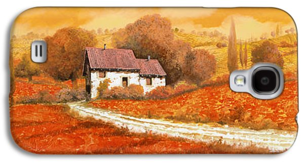 Village Paintings Galaxy S4 Cases - Rosso Papavero Galaxy S4 Case by Guido Borelli