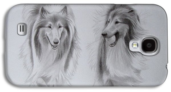 Dog Trots Galaxy S4 Cases - Rough Collie Sisters Galaxy S4 Case by Karen Wood