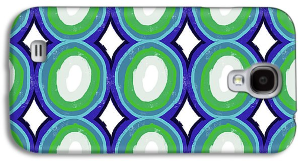 Round And Round Blue And Green- Art By Linda Woods Galaxy S4 Case by Linda Woods