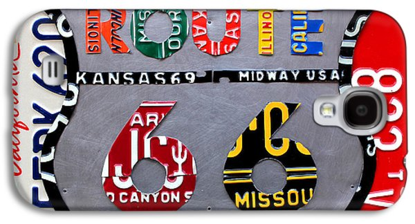 Route 66 Highway Road Sign License Plate Art Galaxy S4 Case by Design Turnpike