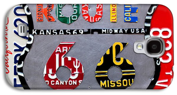 Road Travel Galaxy S4 Cases - Route 66 Highway Road Sign License Plate Art Galaxy S4 Case by Design Turnpike