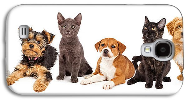 Cutouts Galaxy S4 Cases - Row of Puppies and Kittens Galaxy S4 Case by Susan  Schmitz