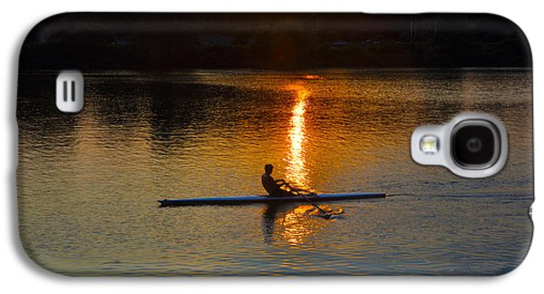 Row Boat Digital Galaxy S4 Cases - Rowing at Sunset 2 Galaxy S4 Case by Bill Cannon