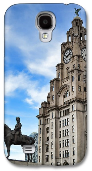 Beatles Galaxy S4 Cases - Royal Liver Building flanked by Edward VII Galaxy S4 Case by Colin Perkins