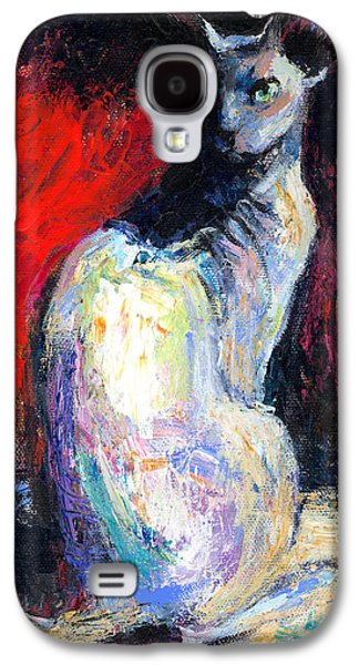 Austin Drawings Galaxy S4 Cases - Royal sphynx Cat painting Galaxy S4 Case by Svetlana Novikova