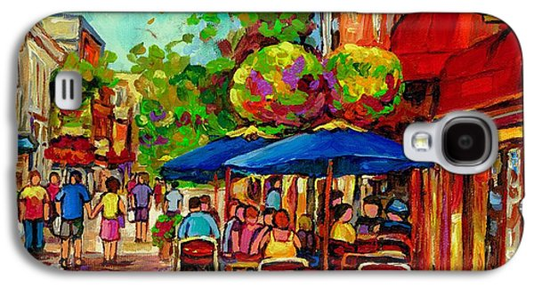 Montreal Restaurants Paintings Galaxy S4 Cases - Rue Prince Arthur Montreal Galaxy S4 Case by Carole Spandau
