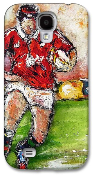 Rugby Paintings Galaxy S4 Cases - Rugby Lion  Galaxy S4 Case by Mary Cahalan Lee