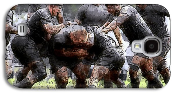 Captains Quarters Galaxy S4 Cases - Rugby Scrum Galaxy S4 Case by Daniel Hagerman