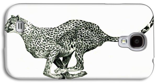 Cheetah Drawings Galaxy S4 Cases - Running Cheetah Galaxy S4 Case by Shirley Heyn