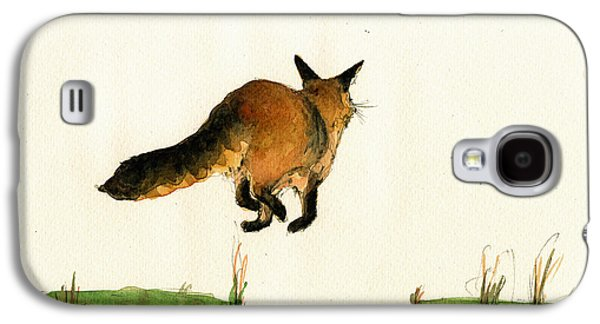 Running Fox Painting Galaxy S4 Case by Juan  Bosco