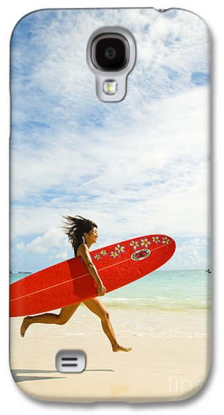 Youthful Galaxy S4 Cases - Running with Surfboard Galaxy S4 Case by Dana Edmunds - Printscapes