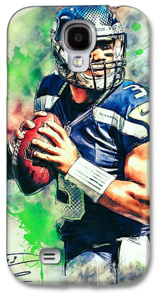 American Football Paintings Galaxy S4 Cases - Russell Wilson Galaxy S4 Case by Taylan Soyturk