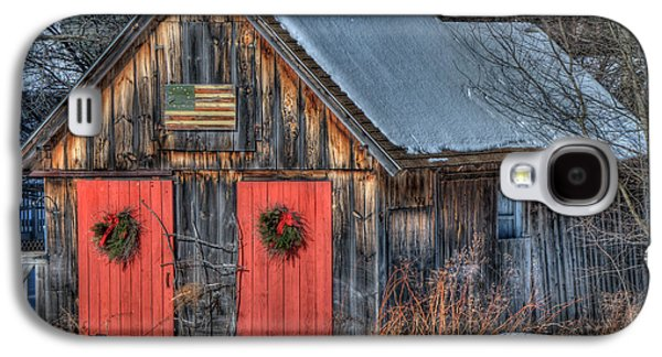 Rustic Barn With Flag In Snow Galaxy S4 Case by Joann Vitali